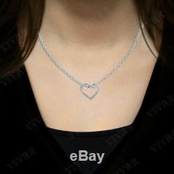 Genuine Diamond 0.10 ct Round Cut Infinity Heart Pendant Necklace For Women's