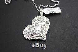 HEART 14k White Gold DIAMOND Pendant with (chain included)