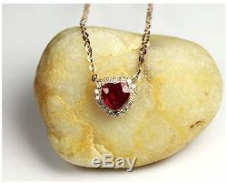 Heart Cut 0.73CT Natural Ruby Gemstone 14K Rose Gold Pendant Necklace Chain
