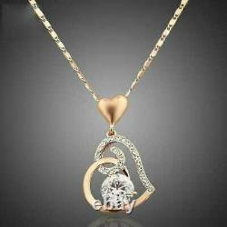 Heart Engagement Wedding Pendant Without Chain 14K Rose Gold Over 1.6 Ct Diamond