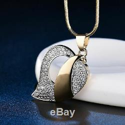 Heart Leaf Style Pendant Necklace 14k Yellow Gold Over 0.50ct Round Cut Diamond