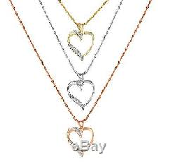 Heart Necklace & Pendant 10K Gold Gift Set Special Real Diamond Womens Accent