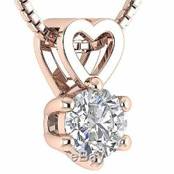 Heart Pendant Necklace Solitaire I1 G 0.70Ct Natural Diamond 14K Gold Six Prong