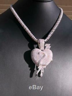 Iced Out 10mm Diamond Rope Chain 14k White Gold Dripping Heart Love Pendant ICY