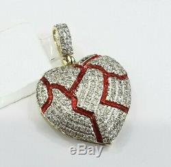 Iced Out Red Broken Heart Small VVS1 Diamond Pendant Charm 14k Yellow Gold Over