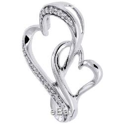 Infinity Double Heart Diamond Pendant 10K White Gold Charm with Necklace. 10 Ct