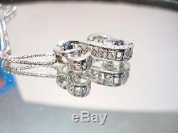 Jane Seymour Open Hearts Dazzling Diamond and Sapphire Necklace Ships Quick