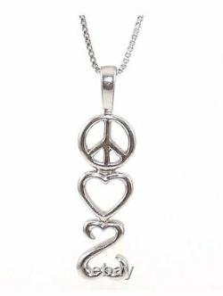 Jane Seymour Open Hearts Triple Layer Hearts Necklace Pendant White Gold Over