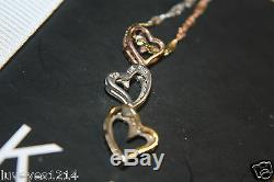 Kay Jewelers 10k Yellow-Rose gold&Sterling Silver diamond Pendant heart Necklace