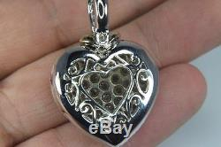 Large Diamond Heart Love Pendant Necklace 6.00 Cts 18kt White Gold