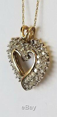 LOVELY 10K YELLOW GOLD 1 CT DIAMOND HEART PENDANT With 18 CHAIN NECKLACE