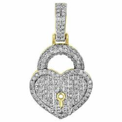 Ladies Diamond Key to Heart Pendant 1.05 Pave Love Charm 10K Yellow Gold Over