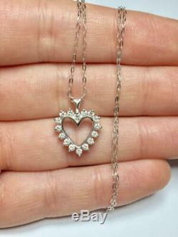 Ladies Round Diamonds Heart shape 14k white Gold Over Love pendant Necklaces