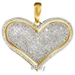 Love Heart Pave lab Diamond Pendant Charm For Necklace 2 Ct 10K Yellow Gold Over