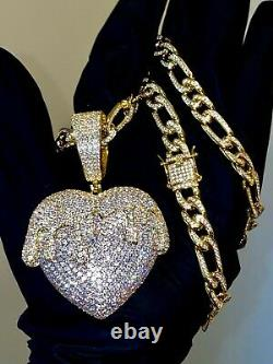 Men's Iced Ice Out 10mm Figaro Chain 14k Dripping Heart Gold Finish Big Pendant