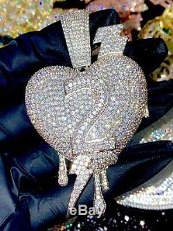 Mens Ice Out Heart Charm 14k W Gold Diamond Finish Big Charm For Chain Upto 20MM