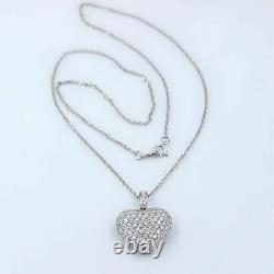 Micro Pave Diamond Heart Pendant 3.00 tcw Necklace in 18k White Gold
