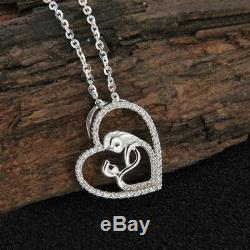 Mom And Baby Charms 0.20ct Diamond Heart Love Pendant Necklace 14k White Gold FN