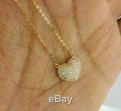 Mother's Day 14K Yellow Gold Diamond Paved Puffed Heart Pendant Necklace Chain
