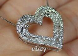 NEW 10K 1/2ct Round Baguette Diamond Heart Love Pendant Necklace 18 White Gold