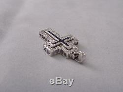 NEW 14k White Gold Diamond and Sapphire Cross Pendant withPierced Hearts Sides