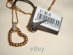 NWT $1350 JOHN HARDY 18K Gold Diamond Heart Bedeg Pendant Necklace withChain