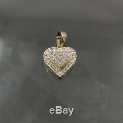 Natural Diamond 0.11 CT Heart Jewelry Pendant in 10 K Yellow Gold