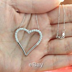 Open Heart Pendant Necklaces 0.15Ct Round Cut Diamond 14k White Gold Finish