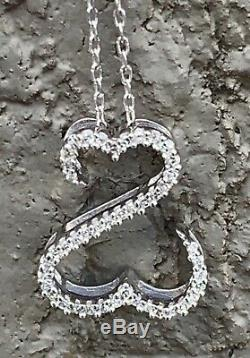 Open Hearts Jane Seymour Necklace 1/10 Carat TW Diamonds 14k White Gold