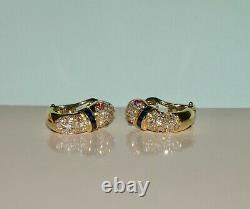 Picchiotti Serpent Diamond Ruby And Sapphire 18k Yellow Gold Earrings