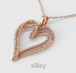 Pink Gold Rose Gold Diamond Heart Pendant Necklace Chain 18