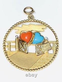 Rare Cartier 18K YG Two Hearts Diamond Coral Turquoise Charm Pendant