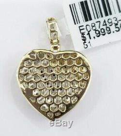 Real 10K Yellow Genuine Diamond Pendant Charm Iced Out Red Broken Heart Small