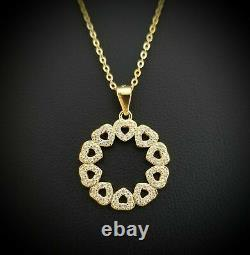 Real Natural Diamond Love Heart Circle Pendant Necklace Solid 14K Yellow Gold