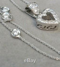 Roberto Coin 18kt Diamond By The Yard Heart Necklace Pendant #BRR227