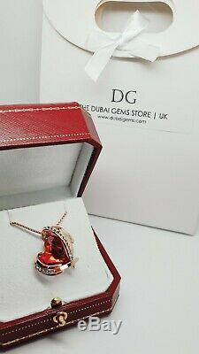 Rose gold finish ruby heart and created diamond pendant necklace gift boxed
