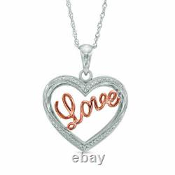 Round Cut Diamond 1.50Ct Heart Pendant Necklaces 14K Rose Gold Over