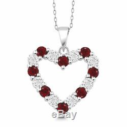 Round Diamond and Red Garnet Heart Pendant Necklace 16 Chain 14K White Gold FN