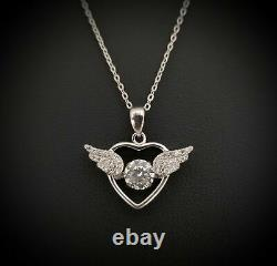 Round Natural Diamond Love Heart Wings Pendant Necklace Solid 14K White Gold