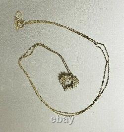 SOLID 14K Gold and Diamond Cluster Small Heart Pendant 18 Necklace