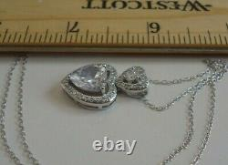 STACKED HEART NECKLACE PENDANT With LAB DIAMOND /16'' TO 18''/ 925 STERLING SILVER