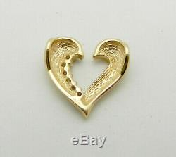 Solid 14k Yellow Gold HEART shape Slide Charm Pendant with Diamond Accent