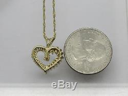 Solid 14k Yellow Gold Round Baguette Diamond Cluster Heart Pendant Necklace 17.5