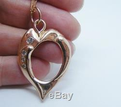 Solid Rose gold Heart with Diamonds. Diamond and rose gold Liquid Heart Pendant