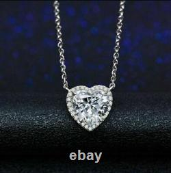 Solitaire Halo Heart Shape VVS1 Diamond Pendant With Chain 14k White Gold Over