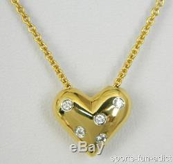 Spectacular! TIFFANY & CO. Platinum & 18K Gold PUFFY HEART Pendant Necklace