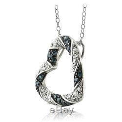 Sterling Silver 0.50ct TDW Blue & White Diamond Heart Necklace