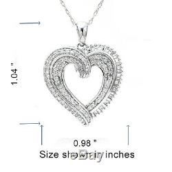 Sterling Silver 1.00 Cttw Dia Round & Baguette Swirl Heart Pendant
