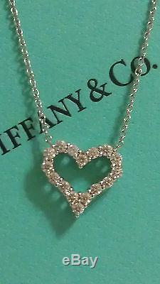 TIFFANY & CO. DIAMOND PLATINUM LOVE HEART PENDANT AND NECKLACE