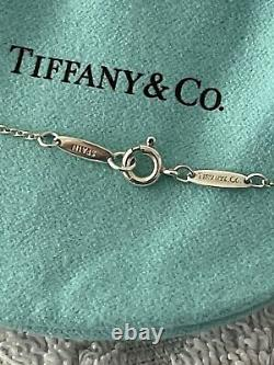 TIFFANY & CO. Sterling Silver 925 With 2 Diamonds Open Heart Pendant Necklace